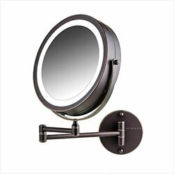 Lighted Wall Mount Makeup Mirrors 8.5 Inch 1x 7x Magnification Antique Bronze