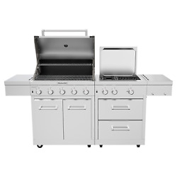 304 Stainless Steel Outdoor 8 Burner Grill W Grill Cover | Model 720-0990c | New