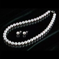 Pearl Large Ball Luxury Pearl Necklace And Earrings K14 Wg White Gold From Japan