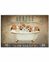 Beagle Puppies Sitting On Bath Soap Poster Art Print Decor For Home No Frame.
