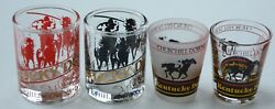 Complete Set Of 4 Rare 1987 Kentucky Derby Shot Glasses - First Year Of Shots