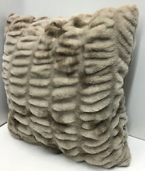 """Olivia amp; Oliver Saluzzo Ruched Faux Fur Printed Throw Pillow in Tan 20x20"""""""