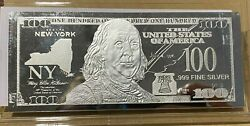 1 Troy Ounce .999 Fine Silver Ben Franklin 100 Note Ny New York State Coa