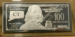 1 Troy Ounce .999 Fine Silver Ben Franklin 100 Note Ct Connecticut State Coa