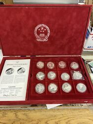 Chinese Silver Proof 5 Yuan Set Of 23 Coins 1983-1991 In Box