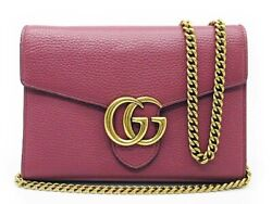 Gg Marmont Chain Wallet Shoulder Bag Leather 401232 Dusty Rose Wome 6-319