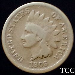 1866 RPD INDIAN HEAD CENT 1c REPUNCHED DATE FS 301 FREE SHIPPING TCC