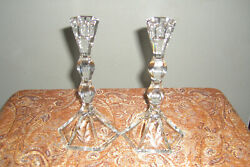 Pair of 2 Lead Crystal Candlestick Holders