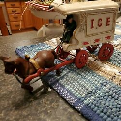 Cast Iron Horse Drawn Heavy Weight Ice Wagon Antique Vintage Collectable