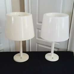 Pair Of Electrix Lamps Late 70's-mid 80's Metal Base Plastic Shades Tan And White