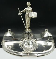 Art Nouveau Wmf Large Inkstand Inkwell Figural Silver Plate Law And Justice Lady