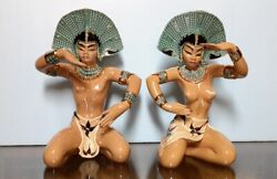 Dorothy Kindell Antique Balinese Male And Female Figurines Nude 14andnbsp Nice