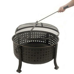 Outdoor Backyard Metal Deep Firepit Cooking Pit With Fire Ring Screen And Poker