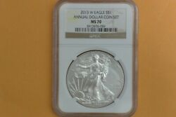 2013 W Burnished Silver Eagle Ngc Ms70 Annual Dollar Coin Set