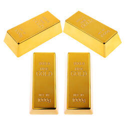 4x Fake Fine Gold Bar Paperweight Prop Party Table Display Bullion Toy