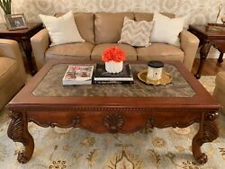 Rectangular Cherry Wood Coffee Table And Square End Tables