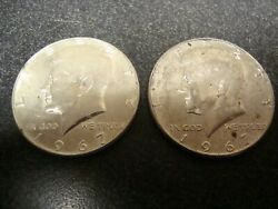 Lot Of 2, 1967 Kennedy Half Dollars 50 Cent, 40 Silver, Unc 839a