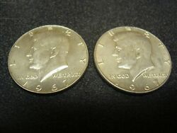 Lot Of 2 1967 Kennedy Half Dollars 50 Cent 40 Silver Unc 837a