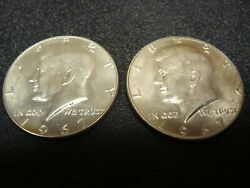 Lot Of 2, 1967 Kennedy Half Dollars 50 Cent, 40 Silver, Unc 838a