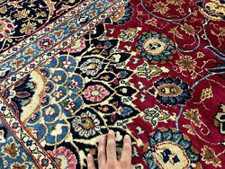 10x13 Red Hand-knotted Wool Antique Rug Handmade Oriental Carpet Handwoven