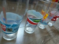 Coca Cola Vancouver 2010 Olympic Glass Cups Rare Full Set Of 4andnbsp Never Used