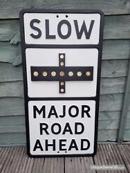 Pre-warboys Slow Major Road Ahead Road Sign With Glass Reflectors 27.5 X 14