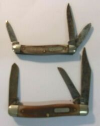 Vintage Old Timer Usa Pocket Knives - Lot Of 2 - Schrade 80t And Ulster 580t