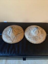2 Vintage Asian Conical Straw Bamboo Hat Chinese Handmade Sun Rice Coolie 16x10