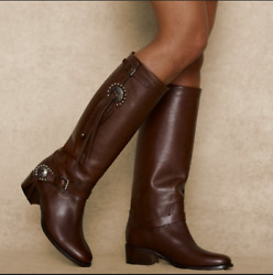 Collection Brown Leather Women Riding Biker Western Cowboy Boots 11