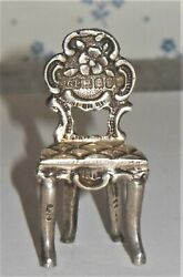 Antique English Sterling Miniature Dollhouse Toy Chair Ornate Flower Rose Marked