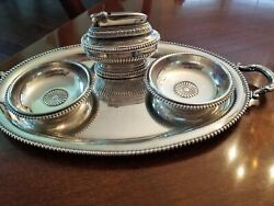 Antique Set Ronson Queen Anne Table Lighter 2 Ash Trays Servingtray Silverplat