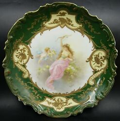 French Sevres Green Porcelain Lady Hunter And Putti Wall Plaque Charger By Collot