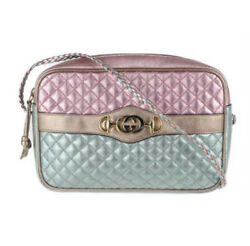 Metallic Pink Quilted Leather Trapuntata Crossbody Shoulder Bag 541061