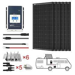 Acopower 600w All Black Mono Solar Rv Kits, 50a Mppt Charge Controller