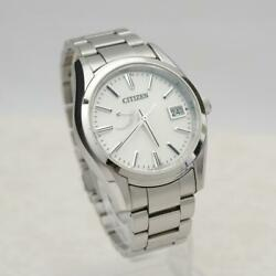 Citizen A010-t017983 Date Stainless Steel Eco-drive Solar Mens Watch Auth Works