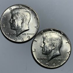 1969 D And 1967 Kennedy Silver Half Dollars Two 40 Silver Free Shipping