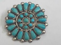 Cluster Turquoise Signed Martha Brooch Pin Sterling Silver 925 Zuni Pendant