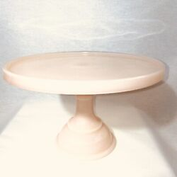 """Crown Tuscan Pink Milk Glass Cake Plate Pastry Tray - 10"""""""
