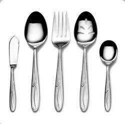5 Pc Serving Set Tablespoon Fork Pierced Butter Mikasa Cocoa Blossom Vietnam New