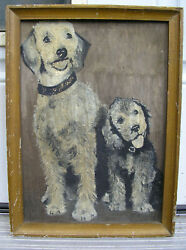 Antique Oil Painting Abstract Ash Can Poodle Dogs Portrait Unsigned Eartly 20thc