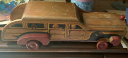 """Vintage 1940s Woody 18"""" Station Wagon By Cass Toys Wooden Toy Car Hand Painted"""