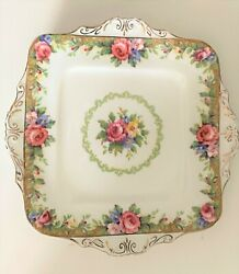 Paragon Tapestry Rose Four Handle Square Cake Plate Serving Tray 9.5 X 9..5