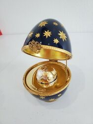 Faberge Limited Edition Navy Blue Gold Starburst Egg W/ Silver Gold Globe 6
