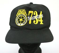Vtg Teamsters 734 Hat Mens Snapback Black Embroidered Cap Made In Usa Union