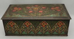 Canco Art Deco Cigar Tin Lion Birds Lithograph Vintage Stained Glass Rectangle