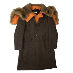 Nwt Brown Fur Hooded Long Coat Size 50 3665