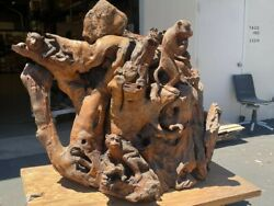 Wood Carving Of Three Monkeys From Africa Hard Wood 5and039 Wandnbsp X 40and039and039 D X 57and039 H