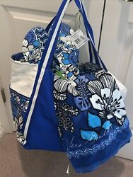 Vera Bradley Beach Set Large Colorblock Tote, Towel And Flop Flops Rare Retired
