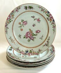 An 18th C. Set Of 6 Qianlong Period Chinese Export Famille Rose 9.25 Plates