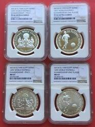 Egypt , Full Set 4x5 Pounds World Cup 1990 All Ngc Pf 66x2 And Ms 67x2 , Rare